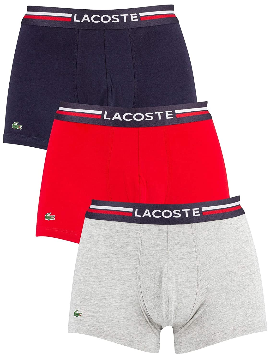 779544895c Lacoste Men's Boxer Shorts Pack of 3 - Colours, Cotton Stretch,  Navy/Red/Grey