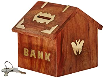 Amazon.com: indian glance wooden carving safe coin money bank saving