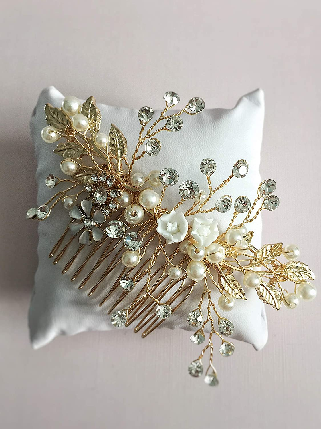 Wedding Crystal Hair Comb Floral Gold Comb Purple Hair Comb Bridal Jewelry Crystal Leaf Hair Comb Bohemian Headpiece Gold Leaf Headpiece