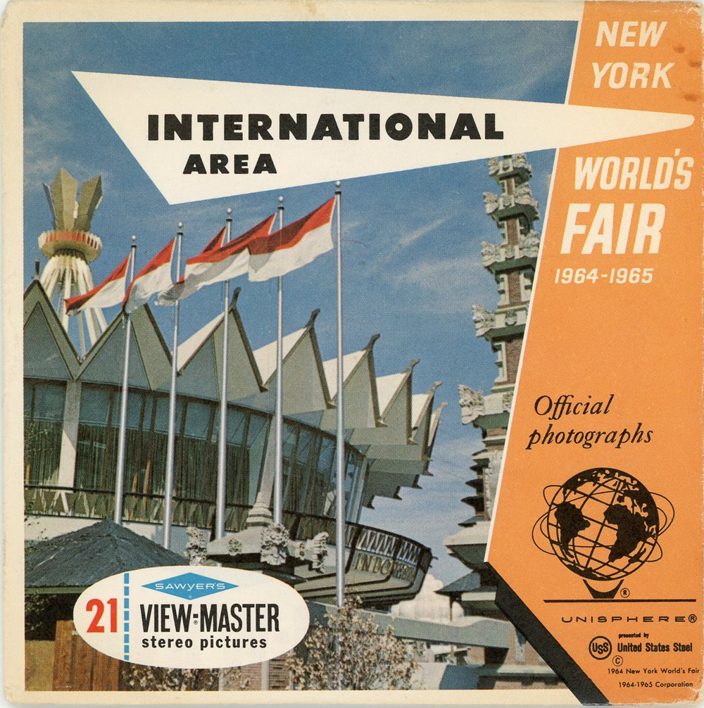 Classic ViewMaster - International Area - New York world Fair 1964-1965 -3Reel Packet -21 3D images from 1960's