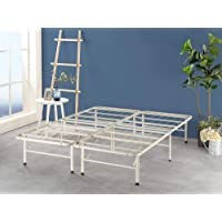 Zinus Premium White Metal Smartbase Double Bed Frame   Foldable Folding Bed Base with Under Bed Storage