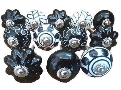 10/x Mix Vintage Look flores pomos de cer/ámica tirador para puerta armario caj/ón armario tire