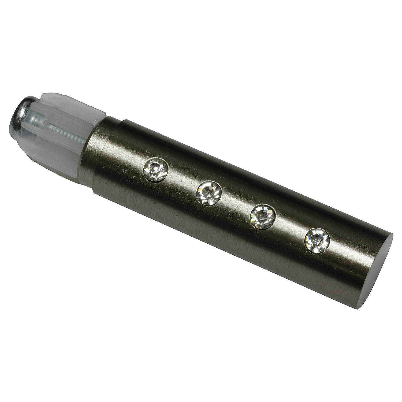 Gardinia Embouts pour Tringle à Rideau, 2 Embouts Cylindre Long/Cristal, Série Chicago, Métal, Effet INOX, Diamètre: 20 mm 33743