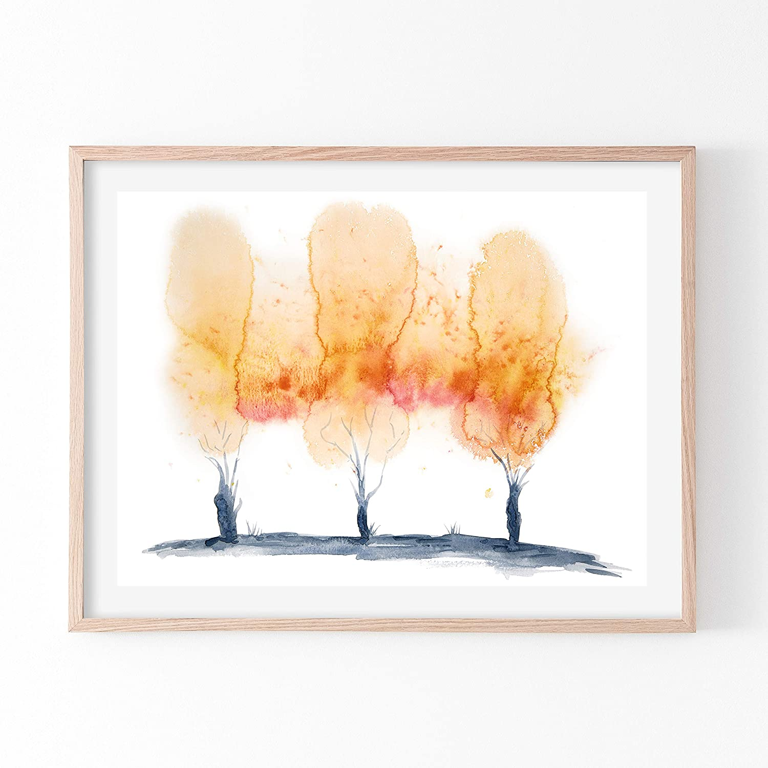 Orange Nature Abstract Art Print, Poster Print Of Navy Artwork, Horizontal Giclee Print Of Tree Painting Print For Frames, Rustic Landscape Art For Living Room, Modern Home Decor Wall Hangings