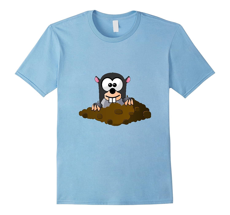 Cute Cartoon Underground Mole with Dirt T-Shirt-BN