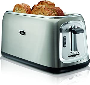 4 Slice Stainless Steel Toaster, with Extra Wide/Long Slots