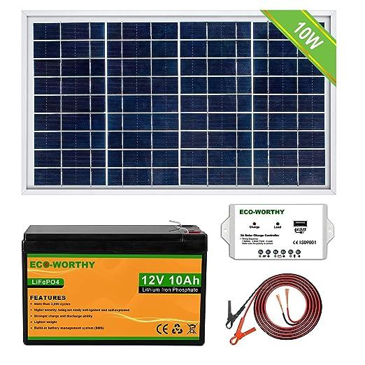 Eco Worthy 10 Watt 12 V Netzunabhängiges Solarmodul Set Mit Lithium Batterie 10 W Solarpanel Usb Controller 10 Ah Lithium Batterie Für Toröffner Hühnerstall Outdoor Boot Telefon Gewerbe Industrie Wissenschaft