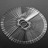 100pcs Fan-shaped Nail Swatch Sticks, False Fake Nail Art Tips Polish Gel Salon Display Practice Tools with Metal Split Ring