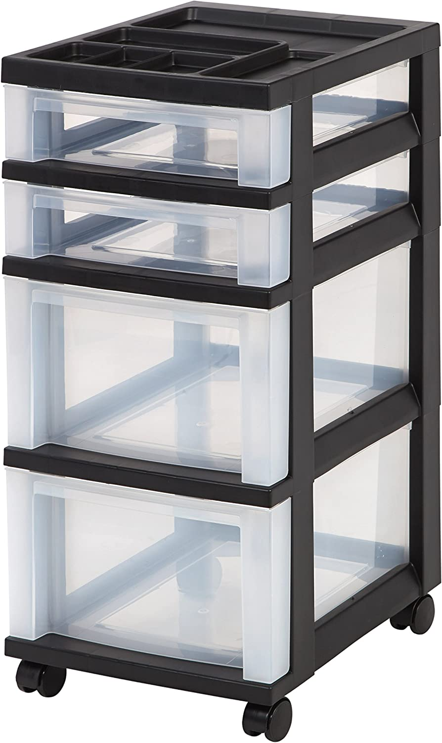 IRIS USA MC-322-TOP 4-Drawer Storage Cart with Organizer Top, Clear: Home & Kitchen