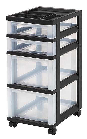 Amazon Com Iris  Drawer Rolling Storage Cart With Organizer Top Black Home Kitchen