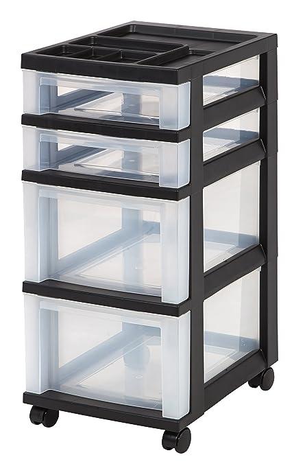 IRIS 4 Drawer Rolling Storage Cart With Organizer Top, Black