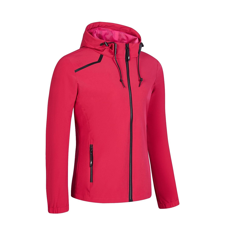 09d6c956b8b Amazon.com   Womens Hiking Running Full Zip Jacket Plus Size Spring Winter  Water Resist Rain Jacket Coat Brethable Lightweight Outdoor Windbreaker  Rose S ...