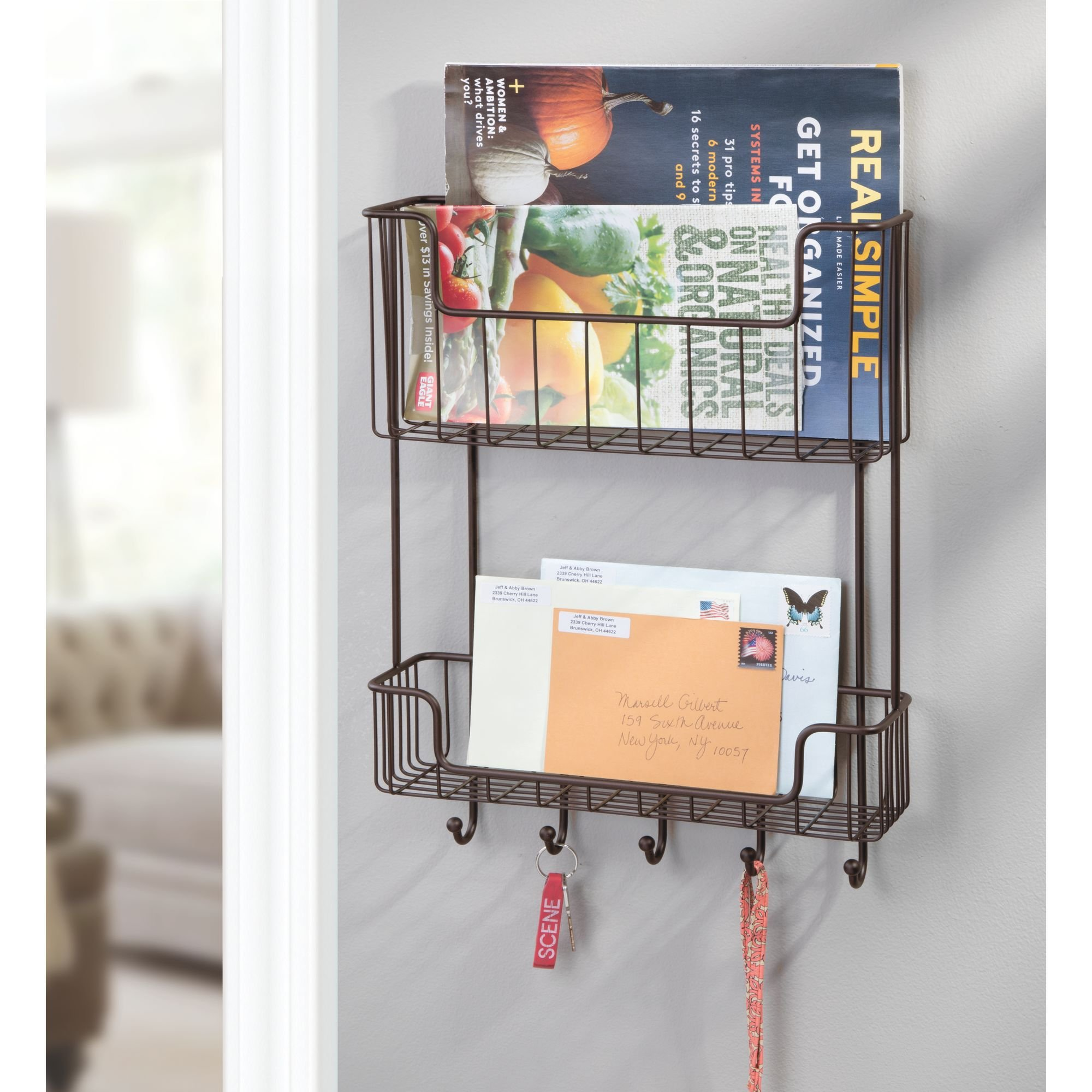 mDesign Wall Mount 2-Tier Mail, Letter, Magazine Holder, Key Rack, and Accessory Organizer for Entryway, Hallway, Mudroom – Strong Steel Wire Design, Bronze by mDesign (Image #2)