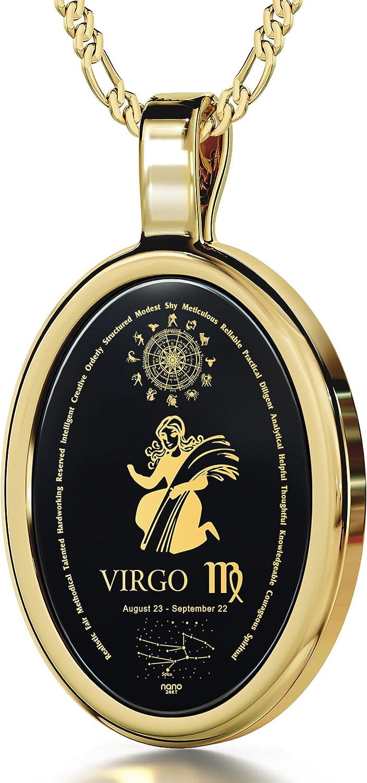 Collar con ónice y signo zodiacal Virgo en oro 24ct - Regalo de cumpleaños para mujer
