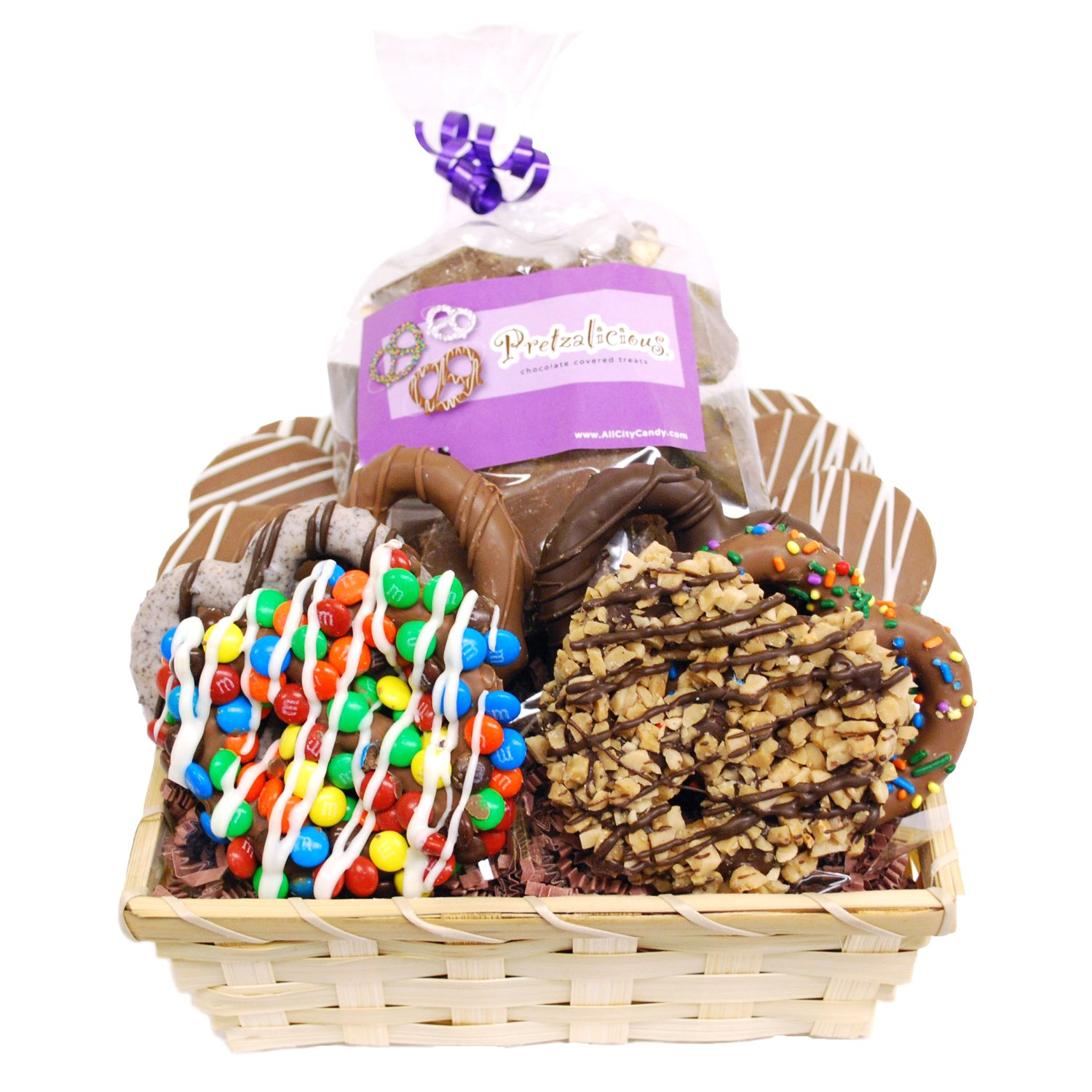 Dreamy Delight Gourmet Chocolate Covered Pretzels and Cookies Basket by All City Candy