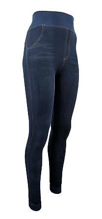 eb5052e504ab Unbekannt Damen Thermo- Winter- Leggings gefüttert - Jeans Optik in blau o.  schwarz