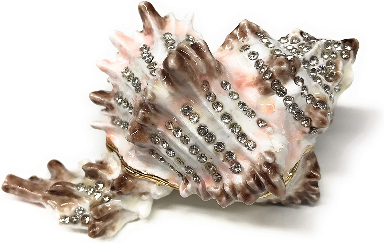 Kubla Crafts Enameled Conch Seashell Trinket Box, Accented with Austrian Crystals, 3.5 Inches Long