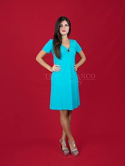 d70d5e5e2c72 Home in Jersey Short Sleeve Dress with Neckline lincalor 52 Tiffany   Amazon.co.uk  Kitchen   Home