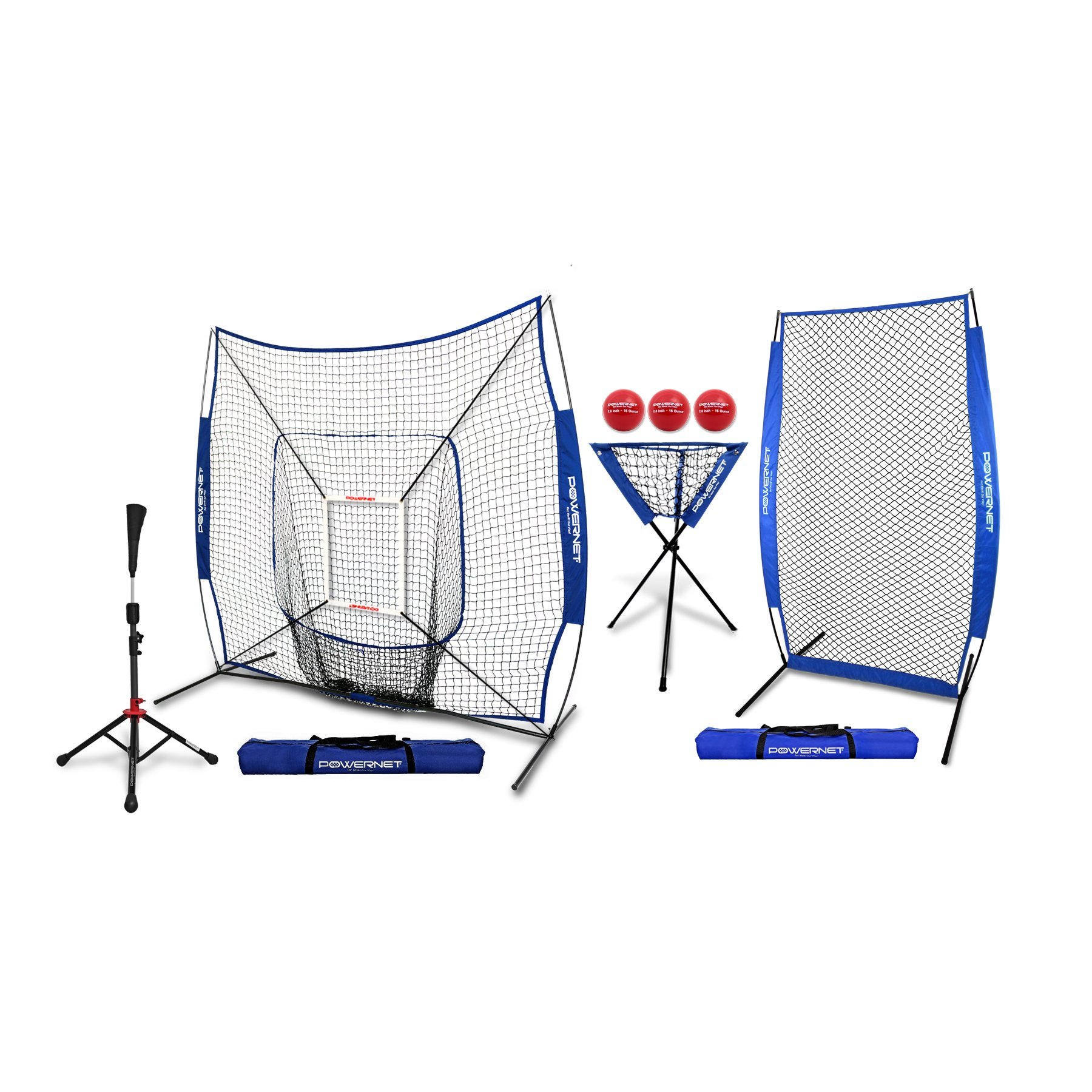 PowerNet [All in ONE Coach Bundle (Royal Blue) 7x7 DLX Practice Net + I-Screen + Deluxe Tee + Ball Caddy + 3 Pack Weighted Training Ball + Strike Zone Bundle | Baseball Softball Pitching Batting by PowerNet