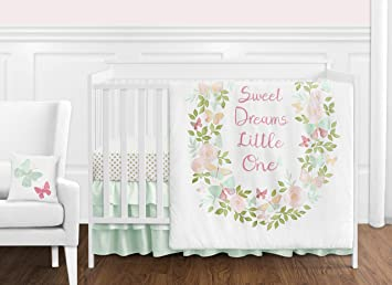 Amazon.com & Sweet Jojo Designs Blush Pink Mint and White Shabby Chic Butterfly Floral Baby Girl Crib Bedding...