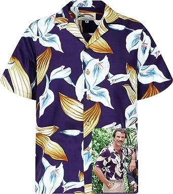 Paradise Found Camisa Hawaiana | Tom Selleck Magnum | Original Hecha en Hawaii | Diferentes Diseños: Amazon.es: Ropa y accesorios