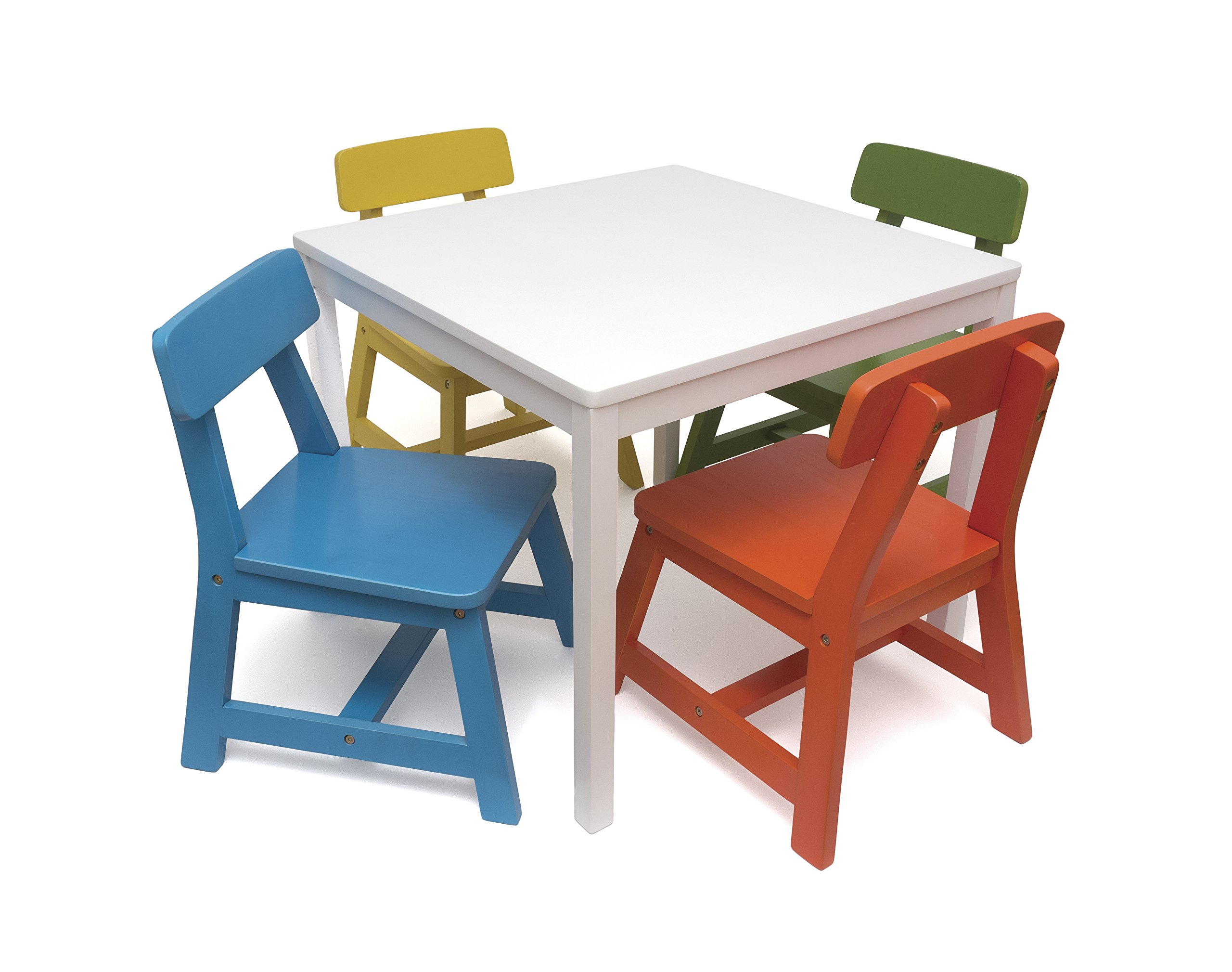 Lipper International 585MC Child's Square Table and 4 Chair Set, Multi-Color