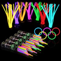 500 Glow Sticks Bulk Party Supplies - Glow in The Dark Fun Party Pack with 8