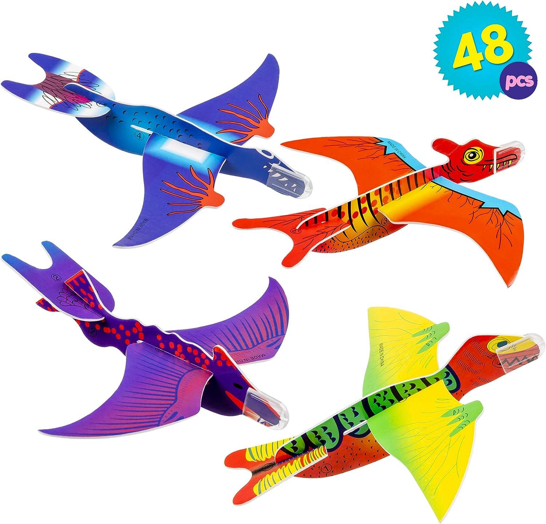 THE TWIDDLERS 48 Avion Planeadores De Dinosaurios, Aviones De Juguete, Articulos Fiesta, Premios Rellenos De Cumpleanos, Juguetes De Interior Ideales para Niños, para Horas De Juego Y Entretenimiento