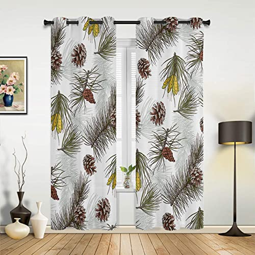 HERBED Bedroom Blackout Curtains Christmas Cute Pine Cone Evergreen Coniferous Thermal Insulated Room Darkening Curtain