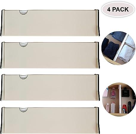 Pack 4 Divisores de Cajones - Separador Cajones Plástico Ajustable ...