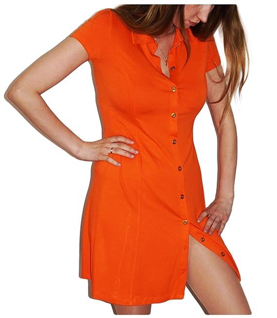 Damen Polokleid von Heine in Orange mit Goldfarbenen Knöpfen  Amazon.de   Bekleidung d2d1f52e71