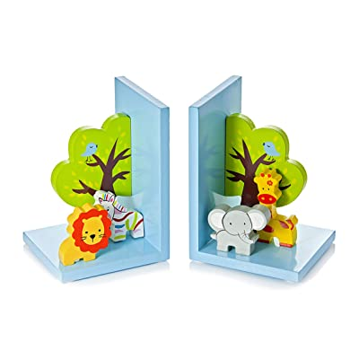3D Safari Themed Wooden Children's Animal Bookends for Boys or Girls Nursery or Bedroom: Home & Kitchen
