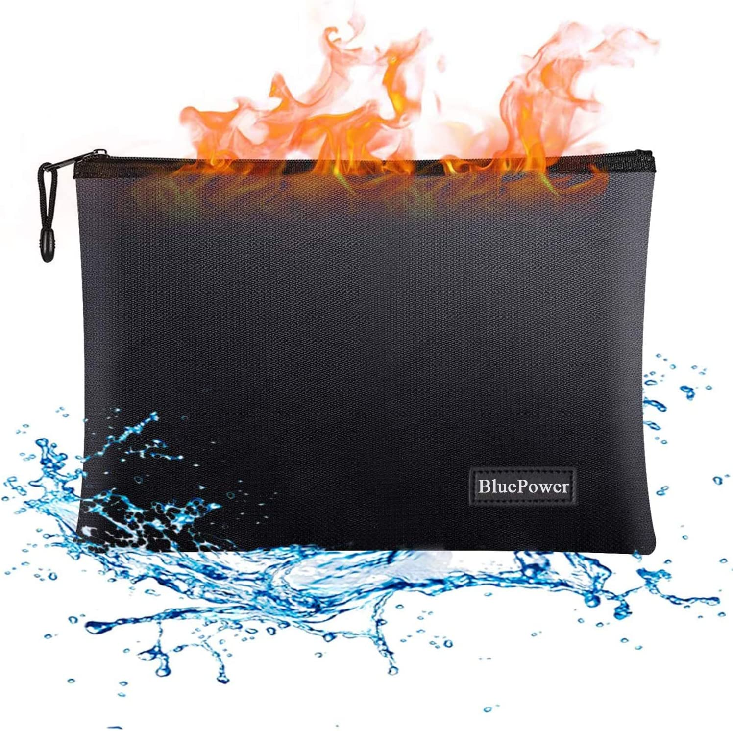 """Fireproof Document Bags,15""""x 11"""" Large Waterproof and Fireproof Folder Money Bag,Fire & Water Resistant Safe Storage Pouch Envelope with Zipper for A4 Document Holder,File,Cash,Tablet,Passport,Jewelry"""