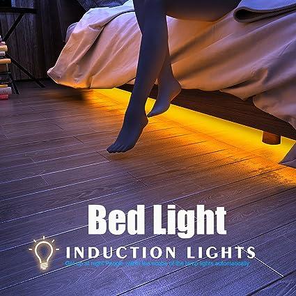 Apleye Movimiento activado luz de la cama, Flexible LED tira Sensor de movimiento Night Light