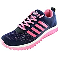 BRiiX Women Navy Blue and Pink Mesh Sports Running/Walking/Training and Gym Shoes