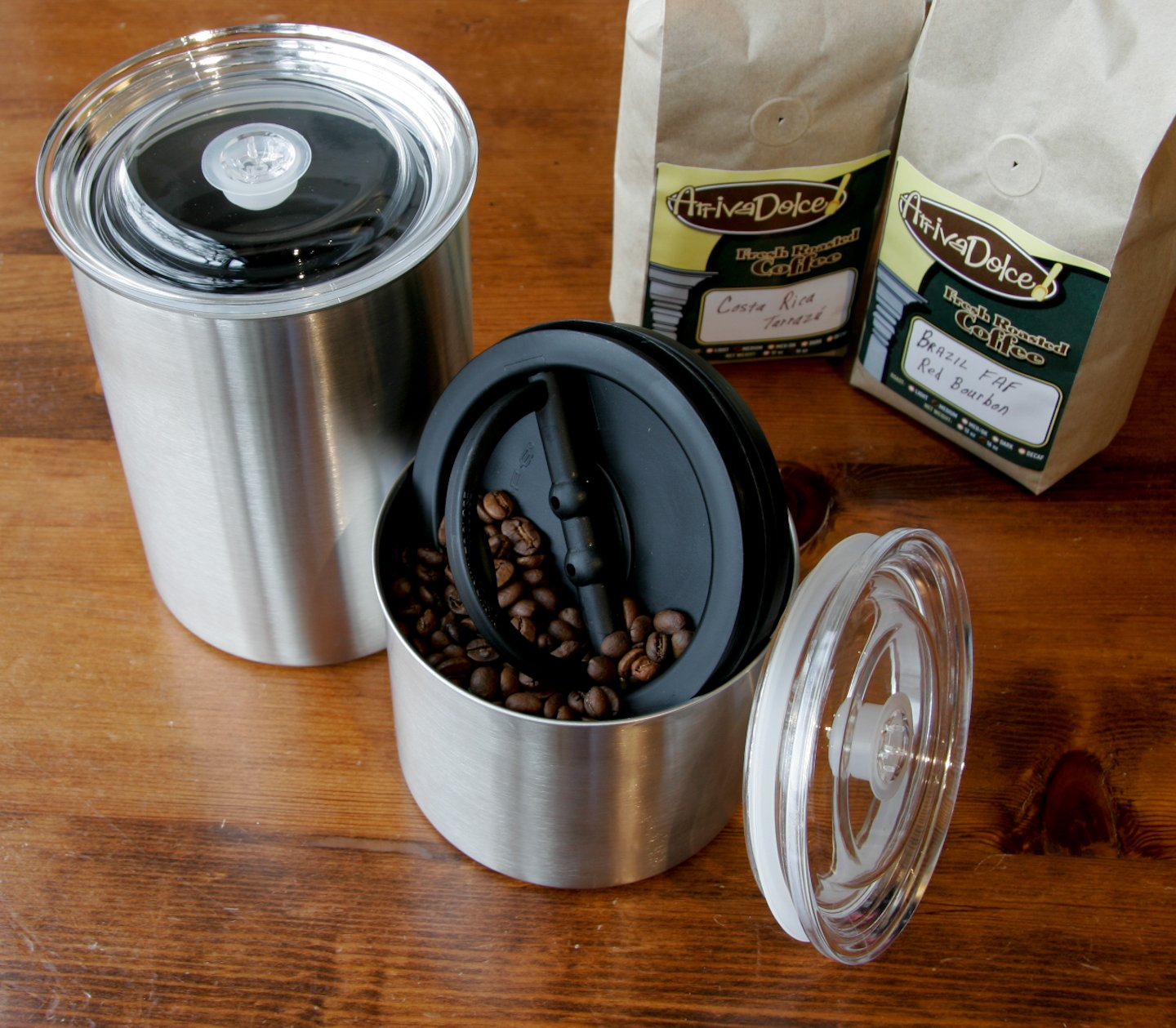 Planetary Design Airscape Coffee Storage Canister (1 lb Dry Beans) - Patented Airtight Lid Pushes Air Out to Preserve Food Freshness - Stainless Steel Food Container - Brushed Steel by Planetary Design (Image #6)
