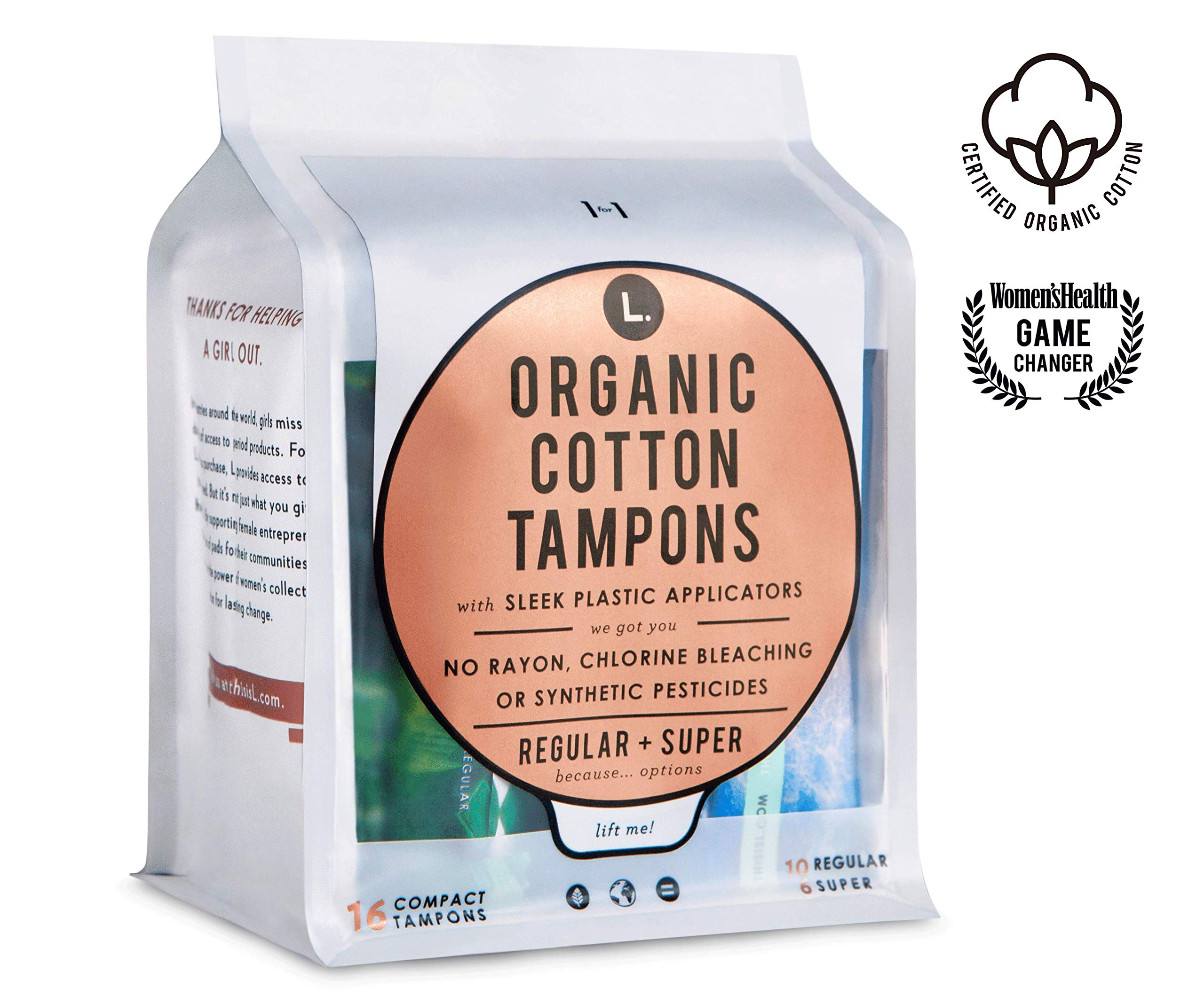L. Organic Cotton Tampons with BPA-Free Applicators, Regular + Super Absorbency, 64 Count