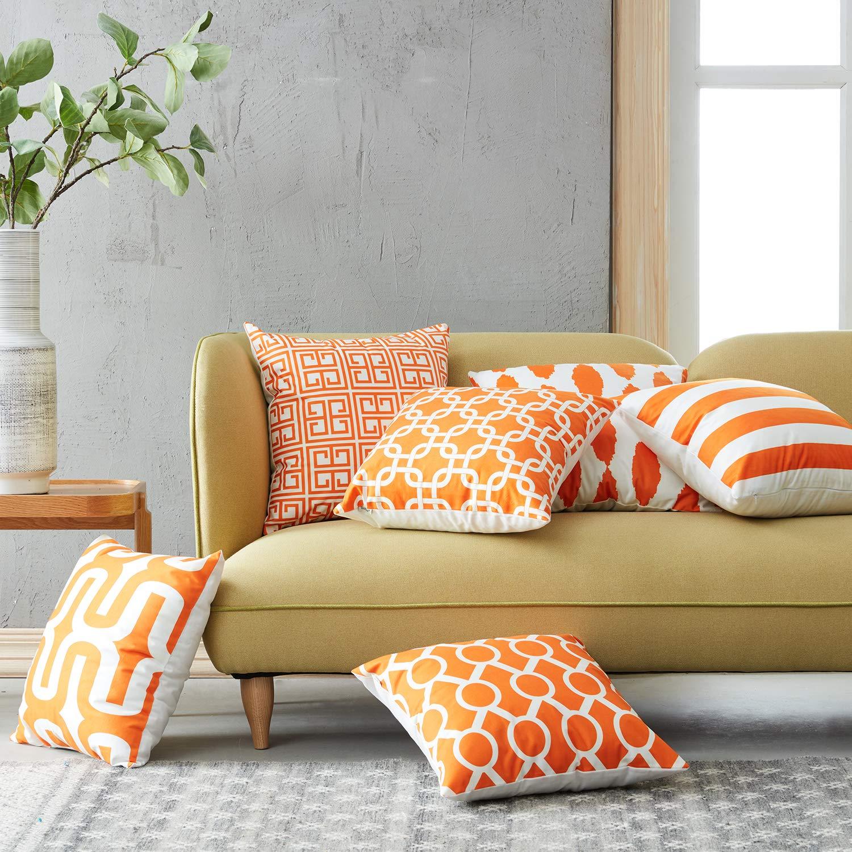 Topfinel Fundas cojín Lona de Almohadas Creativa para el sofá Juego de 6 45x45cm Naranja: Amazon.es: Hogar