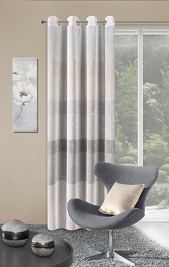 Eurofirany Vorhang Ösenvorhang 140x250 Cm Gestreift Erli Creme Grau  Wohnzimmer Küche Streifen Lichtundurchlässigkeit: Ungf.