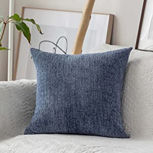 Home Brilliant Soft Throw Pillows for Couch Office Handmade Square Decorative Pillow Cases for Bench, 45 x 45cm, Jeans Blue