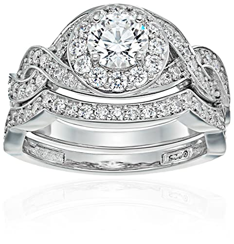 Platinum-Plated Sterling Silver Swarovski Zirconia Two-Piece Intricate Ring Set, Size 6