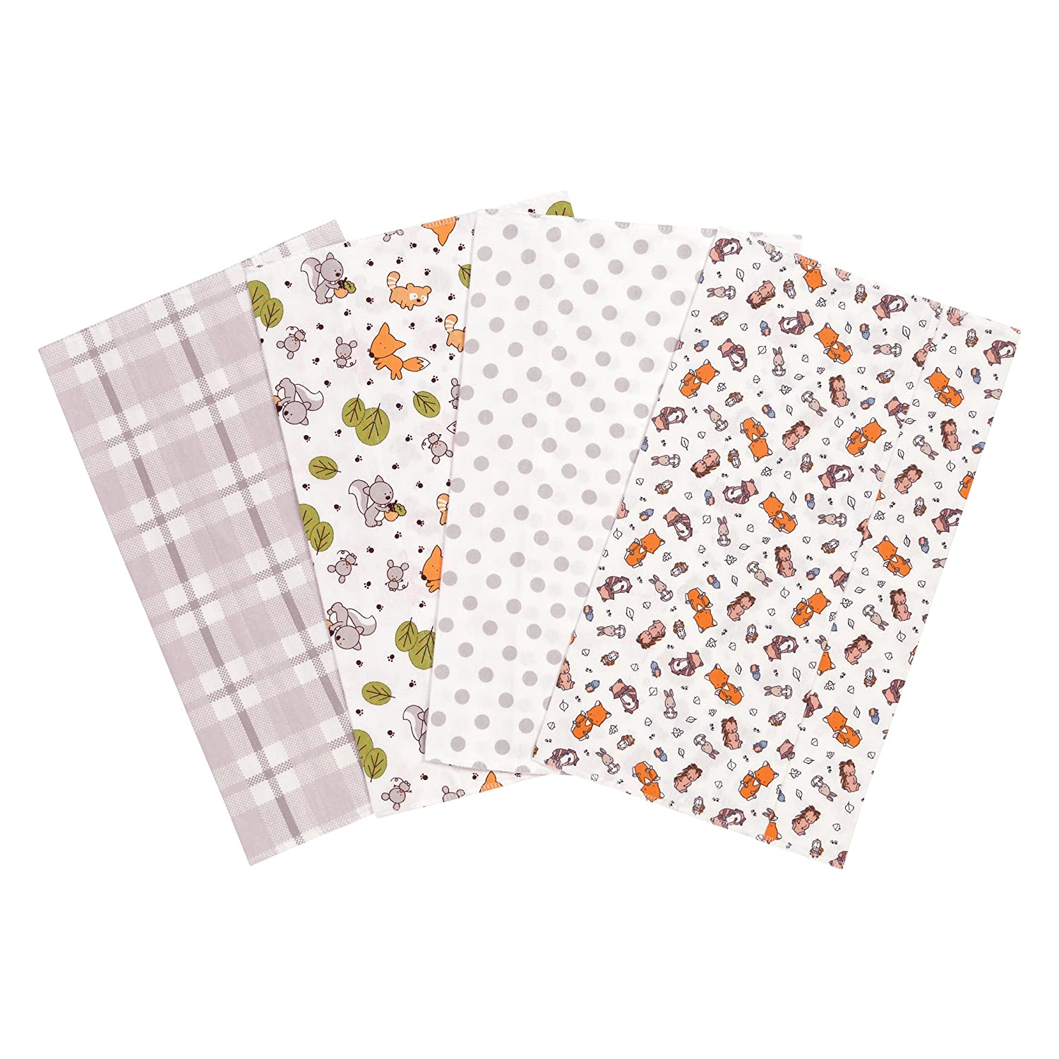 Trend Lab Wild Bunch Flannel Burp Cloth Set, 4 Piece 103203