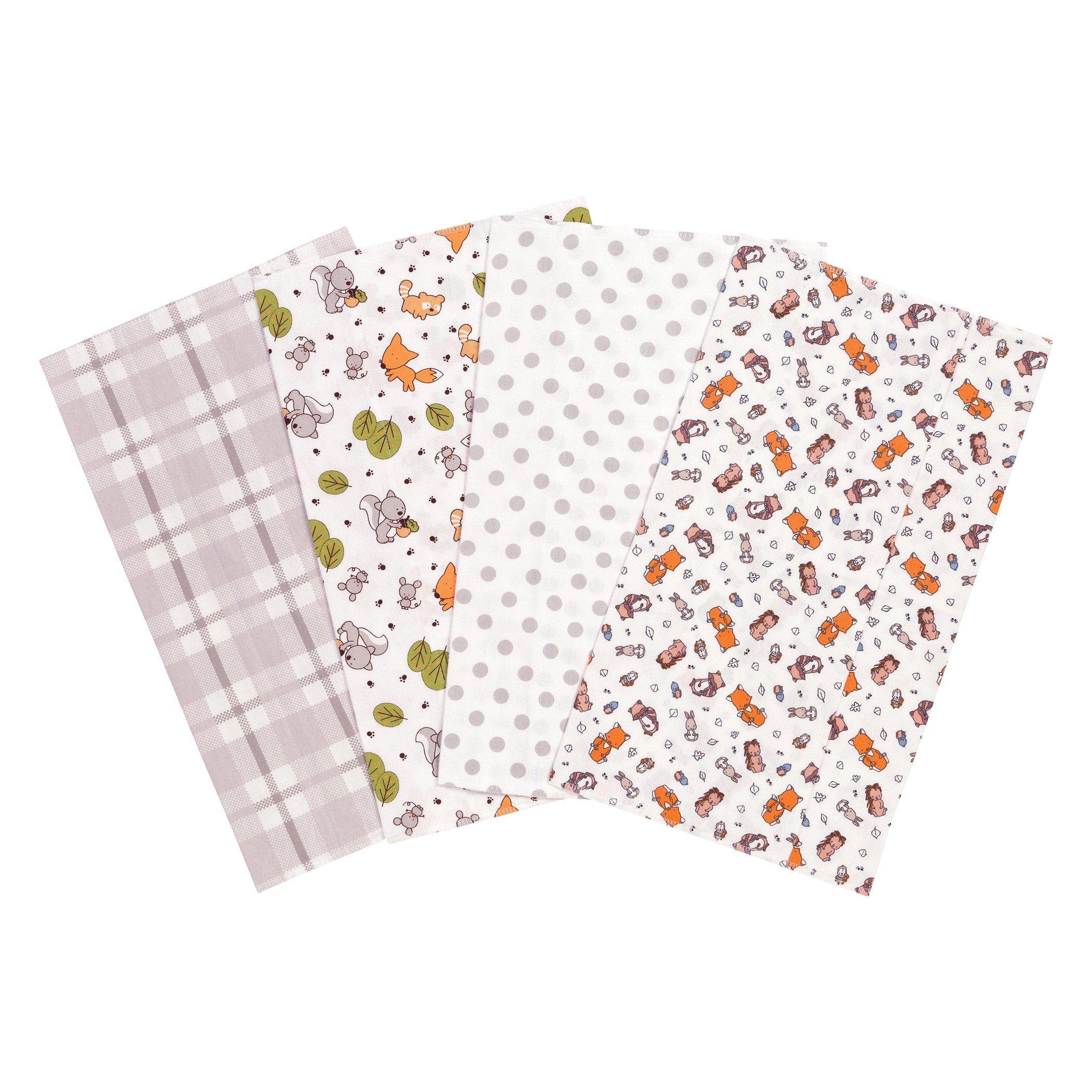 Trend Lab Wild Bunch Flannel Burp Cloth Set, 4 Piece