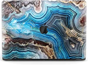 Mertak Hard Case for Apple MacBook Pro 16 Air 13 inch Mac 15 Retina 12 11 2020 2019 2018 2017 Stone Geode Clear Touch Bar Natural Cover Marble Design Aesthetic Laptop Protective Blue Plastic Agate