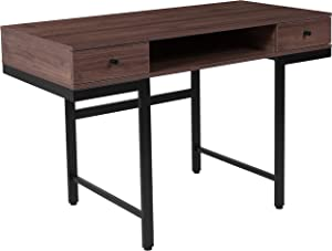 Flash Furniture Bartlett Dark Ash Wood Grain Finish Computer Desk with Drawers and Black Metal Legs