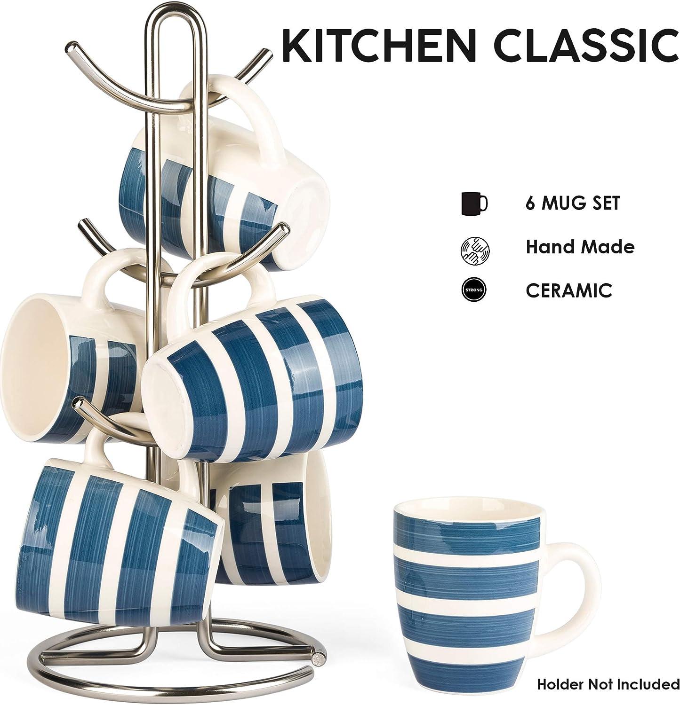 C/éramique Fait Main en gr/ès 380 ML, 6 pi/èces, Bleu LVKH Ensemble de Tasses /à caf/é de