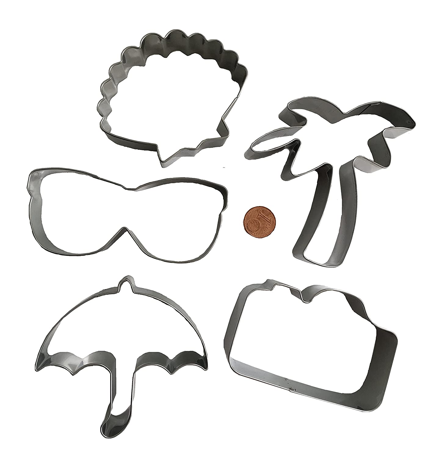 2fafe44b67e Set of 5 Stainless Steel Apperat Cameras Vacation Beach Sun Palm Tree Cookie  Cutter Cookie Pan Sunglasses Shade Christmas Biscuit Cookie Cutter Cake  Baking ...