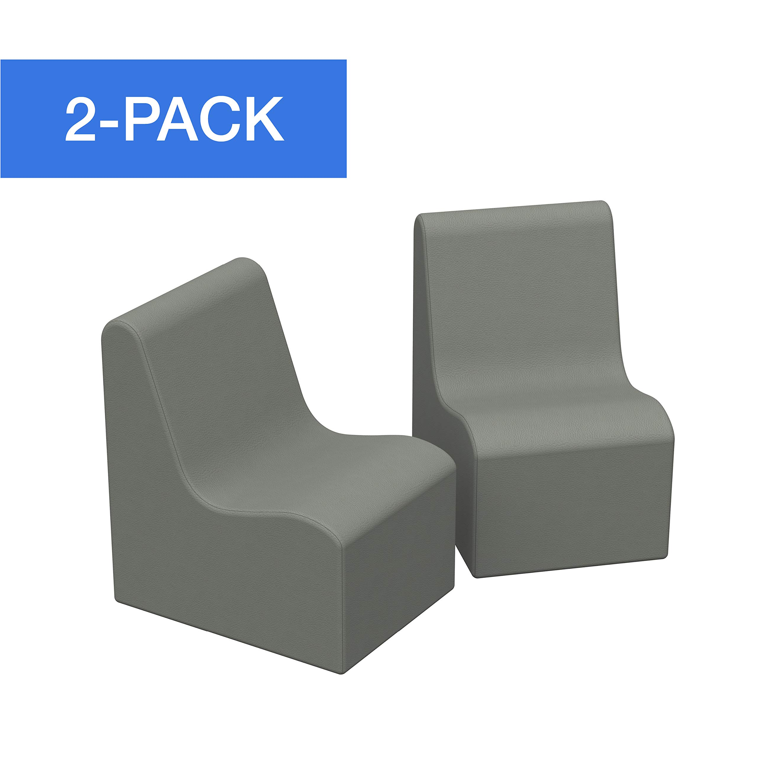 FDP SoftScape Wave Preschool Chair Seating Set, Play Soft Supportive Foam Furniture for Kids for Bedrooms, Playrooms, Classrooms - Gray (2-Pack) by Factory Direct Partners
