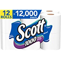 12-Pack Scott 1000 Sheets Toilet Paper Rolls Bath Tissue