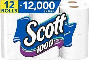 Scott 1000 Sheets Per Roll 12 Toilet Paper Rolls Bath Tissue Health Personal Care Amazon Com
